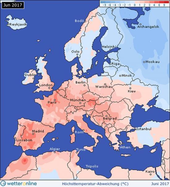 Fig.1 - La media delle  temperature massime  giornaliere in giugno