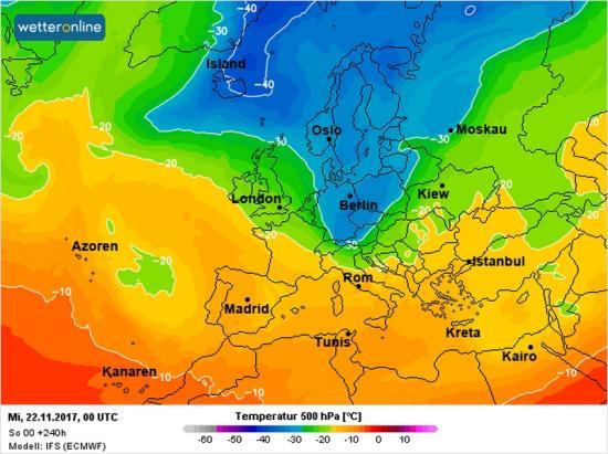 Fig.1 - Colata di aria fredda sull'Italia vista alla quota di 5500m alla fine di martedì 21 novembre