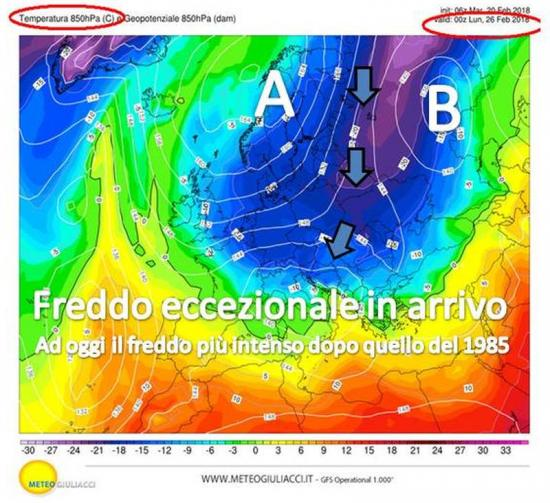 Fig.1 (di copertina) - L'ondata di freddo prevista alla quota di 1500m dal modello americano GFS alla fine di domenica 25 febbraio