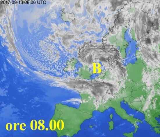 Fig.1  - Satellite meteo alle ore 08.00 di mercoledì 13 settembre