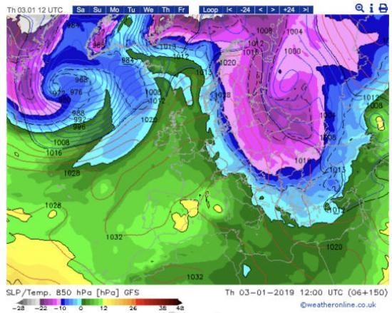 Temperature a 1500m ca previste alle ore 13.00 del 3 gennaio