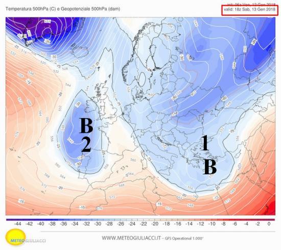 Fig.1 - Correnti a 5500 m sabato alle ore 19.00 (blu = aria più fredda)