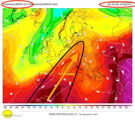 Lingua di aria calda alla quota di 1500me di origine Nord africana il 29 maggio