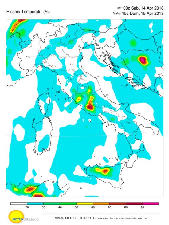 Probabilità di temporali domenica 15 aprile al pomeriggio