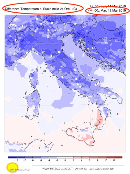 Differenza di temperatura alle ore 19.00 tra domenica 10 e lunedì 11 marzo