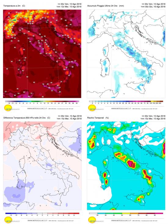 Temperature, precipitazioni, calo termico e temporali previsti per Ferragosto 2018