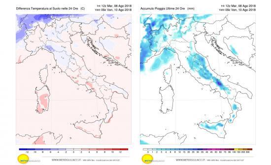 Differenza termica a sinistra e precipitazioni a destra previste per giovedì 9 agosto