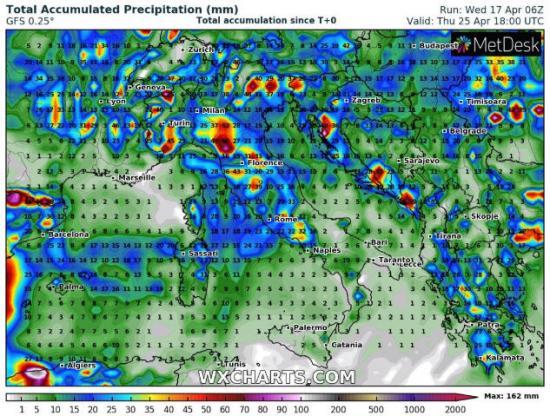 Piogge previste per i prossimi 7 giorni