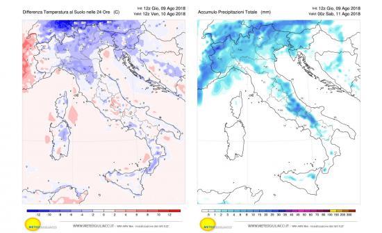 Calo termico previsto per domani (a sinistra) e precipitazioni (a destra per venerdì 10 agosto)
