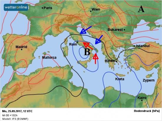 Fig.1 - Vortice di bassa pressione sul Basso tirreno alla fine di domenica 24
