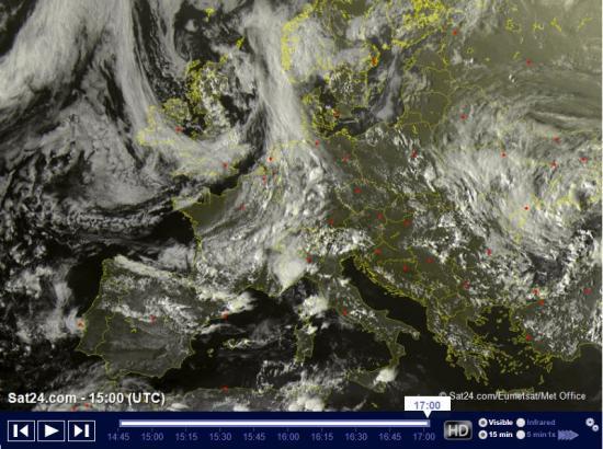 Ammasso nuvoloso in arrivo sulle regioni settentrionali