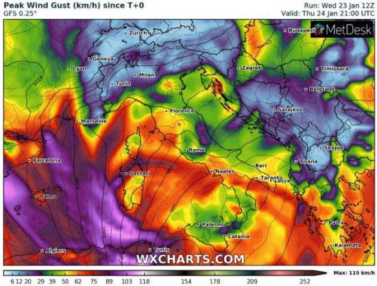 Venti di burrasca su Abruzzo, Basilicata, Puglia, Calabria e Sicilia