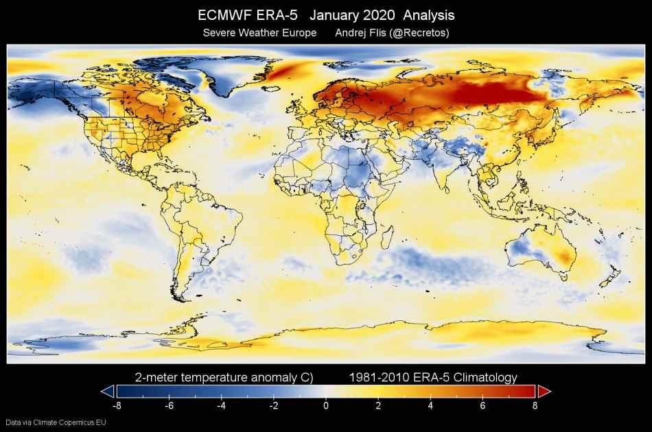 Anomalie Gennaio 2020. Fonte Copernicus