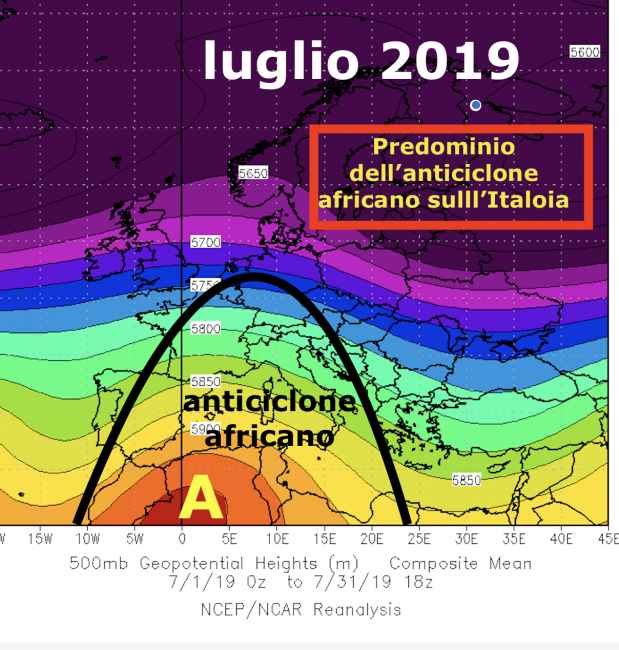 Pressione all quota media di 5500m in luglio 2019