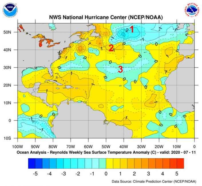Anomalie in atto nella temperatura delle acque superficiali del Nord Atlantico