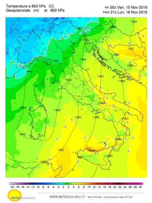 Temperature in quota prossima settimana.