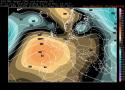 Fig.1 - L'anticiclone Nord africano alle ore 14.00 di martedì 23 maggio (colore marrone e grigio = la Bolla calda dell'anticiclone)