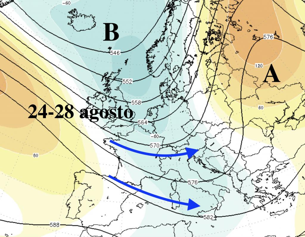 Ciclone atlantico intenso il 25-27 agosto. Estate ridimensionata