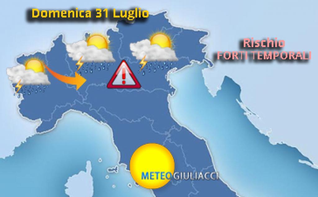 Forti temporali domenica 31 luglio al Nord: possibili grandinate