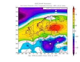 Modifica della pressione al livello del mare nelperiodo 2000-2020 rispetto al periodo 1970-1999
