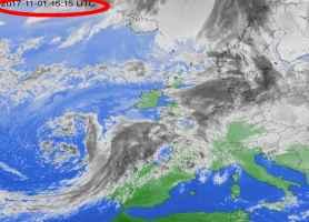 Fig. 1- Il ciclone Ermengarda visto dal satellite ad ovest della Spagna mercoledì 2 novembre