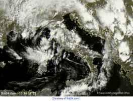 Satellite meteo alle ore 15.10 di mercoledì 13 gennaio