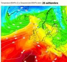 Temperature a 1500m previste pe r il 25 settembre