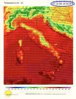 Temperature previste alle ore 14.00 di martedì  25 settembre
