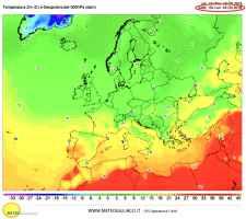 Temperature previste al suolo lunedì 22 alle ore 17.00