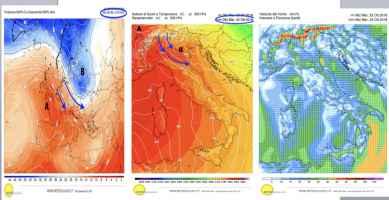 Mercoledì 24: forticorrenti settentrionali in quota sul versante Nord alpino; alta pressione sopravvento e bassa sottovento alle Alpi; forti venti da Nord ovest al suolo