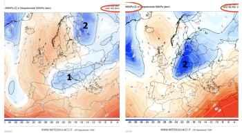 I due nuclei di aria fredda in arrivo dal Nordest europeo visti alla quota di 5500m visti domenica 18 e martedì 20 novembre