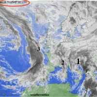 le tre perturbazioni viste dal satellite il 25 novembre