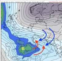 pressione al livello del mare, correnti fredde e correnti calde previste per le ore 16.00 di giovedì 13 dicembre.