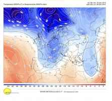 Temperature e correnti alla quota di 5500m il 28 gennaio