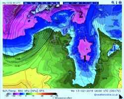 le 2 ondate di freddo alla quota di 1500, alle ore 07.00 di mercoledì 13