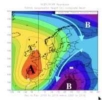 anomalie di pressione alla quota media di 5500m nell'Inverno 2018-19 rispetto agli inverni degli anni'2000
