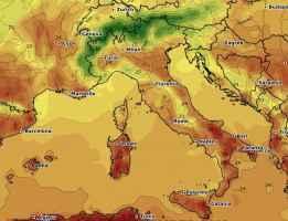 Le temperature massime previste per domenica