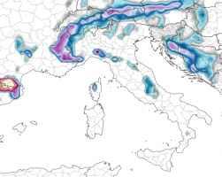 Accumulo di neve previsto nelle prossime 72 ore