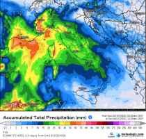 Accumulo delle precipitazioni previsto per le prossime 48 ore