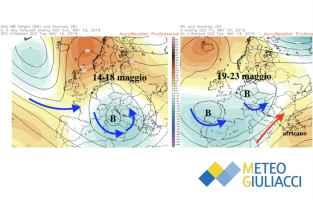 Correnti media previste a 5500m tra il 14 e il 23 maggio