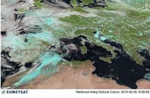 Vortice di bassa pressione (B) sul Nord della Spagna martedì 5 giugno