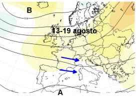 pressione e correnti alla quota di 5500 m ca, mediate tra il 13 e il 19 agosto (qui la media di 1120 previsioni del modello GFSE)