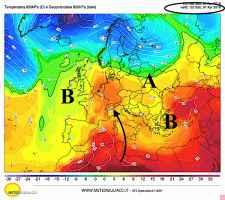Temperature a 1500m previste per sabato 7 aprile