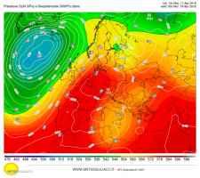 Anticiclone europeo alla ore 14.00 di martedì 17 febbraio