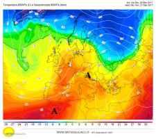 Fig.1 - Alta pressione Nord africana sull'Italia alle ore 14.00 di oggi giovedì, alla quota di 1500 m ( a colri la temperatura a 1500 m)