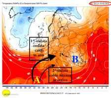 Temperature e correnti alla quota media di 5500m lunedì 3 giugno