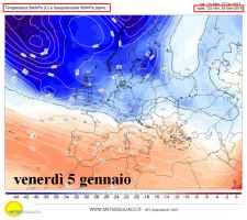 Le più probabili correnti e temperature alla quota di 5500m il 5 gennaio