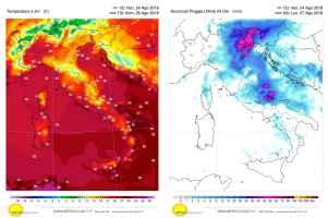Temperature massime e precipitazioni previste per domenica 26 agosto