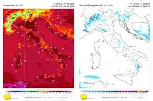 Temperature e precipitazioni per domenica 16 settembre 2018