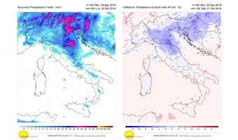 Precipitazioni e calo termico previsto per il fine settimana